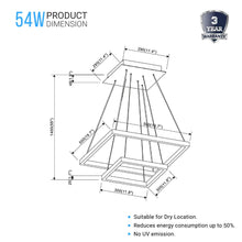 Load image into Gallery viewer, Modern Two-Tier Square Chandelier Lighting, 54W, 3000K, 3016LM, Dimension : 19.7''L×19.7''W×55''H