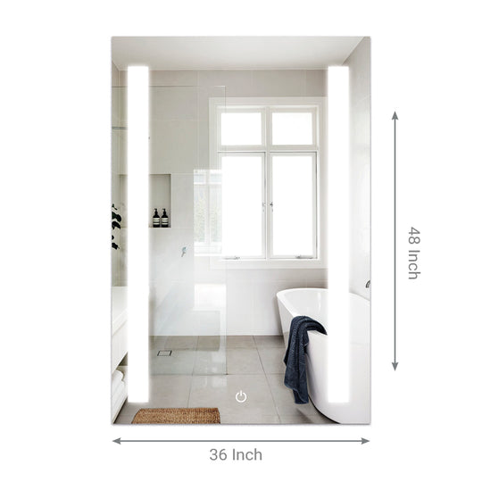 "36"" x 48"" LED Bathroom Lighted Mirror Defogger On/Off Touch Switch & CCT Changeable With Remembrance, Vertical Style"