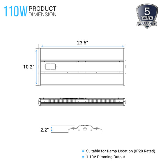 2ft - 110W LED Linear High Bay Light - 5700K - Clear Cover