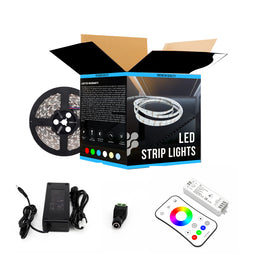 RGB LED Strip Lights (Remote Control Included) - 12V w/ DC Connector - 126 Lumens/ft. with Power Supply & Controller (KIT)