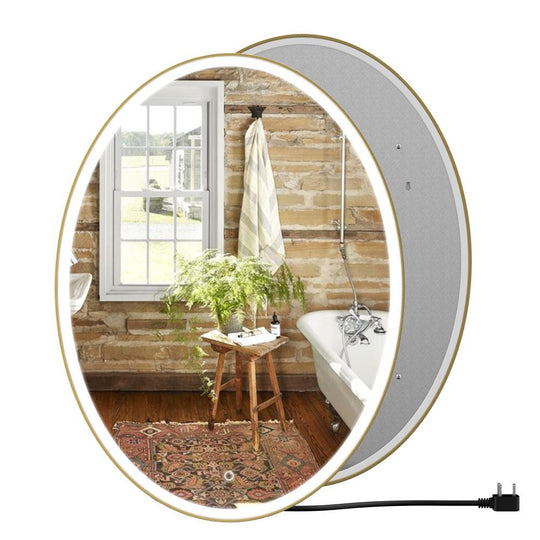 Oval LED Lighted Mirror, Touch Switch, Defogger and CCT Remembrance, Lunar Style