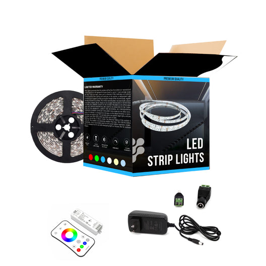 RGB LED Light Strips with Remote - 12V w/ DC Connector - 63 Lumens/ft. with Power Supply and Controller (KIT), 16.4 ft Color Changing Light Strip