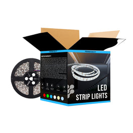 Flexible RGB LED Strip Lights - 12V - IP20 - SMD5050 - w/ DC Connector - 126 Lumens/ft. - Color Changing Led Light Strips