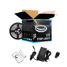 White LED Strip Lights - High CRI - IP20 - 371 lm/ft with Power Supply Controller (KIT) & Dimmers