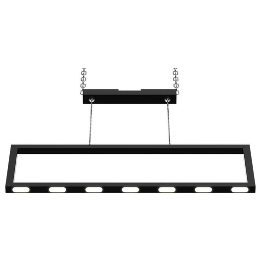 Rectangular Chandelier LED For Office Kitchen Dining Room, 33W, 3000K, 1650LM, LED Pendant Lighting with Matte Black Body Finish, Dimmable, 1-Light