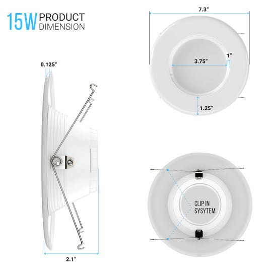 5/6-inch Dimmable LED Downlights / Can Lights, 1000 Lumens, Recessed Ceiling Light Fixture, 15W CRI90+