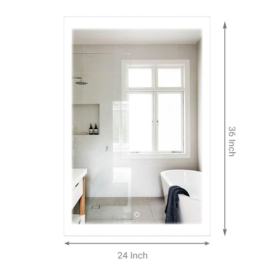 "24"" x 36""  LED Bathroom Lighted Mirror & Defogger On/Off Touch Switch and CCT Changeable With Remembrance, Window Style"