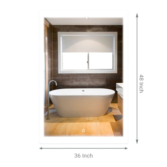 "48"" x 36"" LED Bathroom Lighted Mirror & Defogger On/Off Touch Switch and CCT Changeable With Remembrance, Window Style"