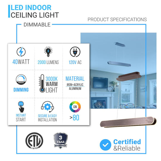 2-Lights, LED Linear Suspension Light, Pendant Mounting, 40W, 3000K, 2000LM, Brushed brown Body Finish, Dimmable
