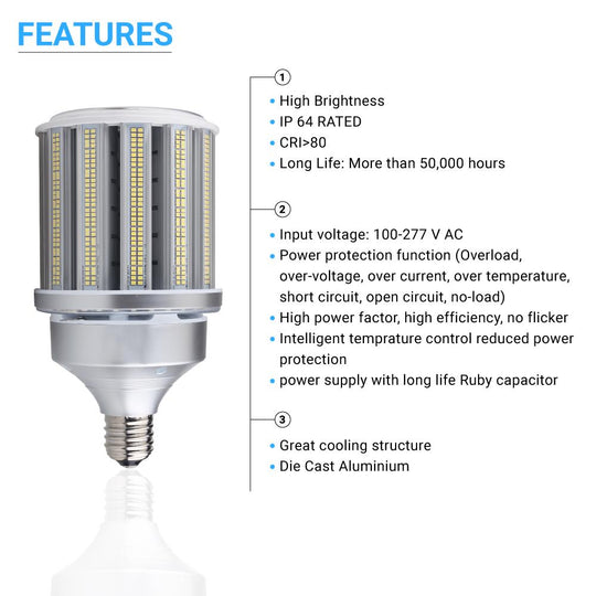 LED Corn Bulb 125W, 5700K, Base E39, UL Listed, Corn Cob LED Bulb - Replacement for 400 Watt HID/HPS/Metal Halide or CFL