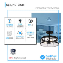 Load image into Gallery viewer, Drum Shape Semi-Flush Mount Lighting Fixture, Matte Black Finish with Clear Glass Shade, E26 Base, UL Listed, 3 Years Warranty