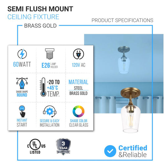 Brass Gold Semi-Flush Mount Light with Bell Shape Clear Glass Shade, E26 Base, Damp Location, Ceiling Mounting, UL Listed