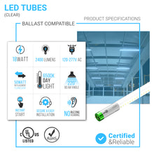Load image into Gallery viewer, Hybrid T8 4ft LED Tube Glass 18W 2400 Lumens 6500K Clear (Check Compatibility List; Not Compatible with all ballasts)