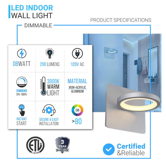 1-Ring Light, LED Wall Lamp Sconces, 8W, 3000K (Warm White), 290lm, Dimmable, For Bedroom Living Room Hallway Stairs
