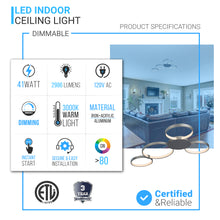 Load image into Gallery viewer, 4 Rings, LED Circle Flushmount Lights, 41W, 3000K, 2986LM, Flushmount for Bedroom, Living Room, Dining Room, Kitchen