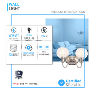 Clear Glass Bathroom Vanity Lights, 2-Head/3-Head, E26 Base Brushed Nickel Finish, Vanity Lighting Fixtures