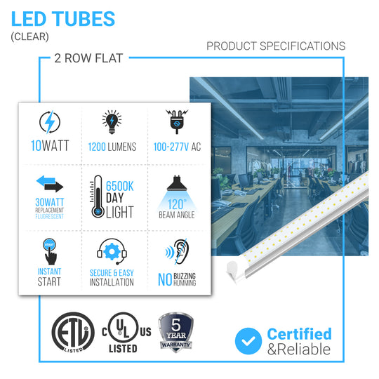 T8 2ft LED Tube Integrated 2 Row Flat - 10W- 6500K - AC 100-277V - Clear