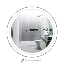 Load image into Gallery viewer, LED Bathroom Round Mirror 22 Inch Diameter - Defogger On/Off Touch Switch and CCT Changeable With Remembrance