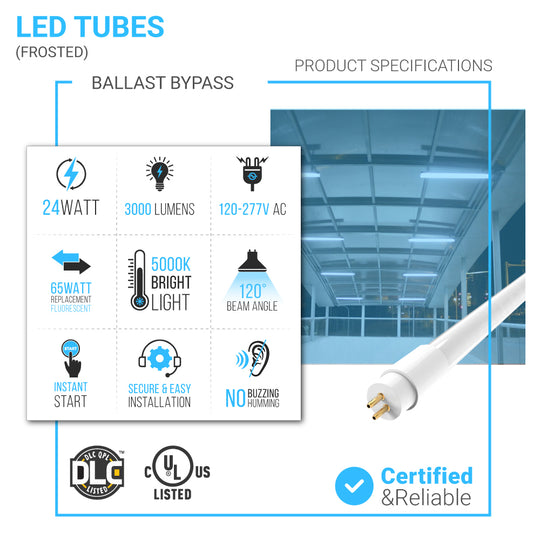 T5 4ft LED Glass Tube Light 24W 5000K - Double Ended Power -Ballast Bypass - Frosted