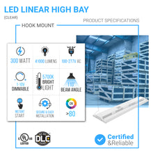 Load image into Gallery viewer, 4ft - 300W LED Linear High Bay Light - 5700K - Clear Cover