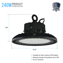 Load image into Gallery viewer, High bay UFO led 240w 4000k - warehouse lighting 31,231 lumens, DLC Premium