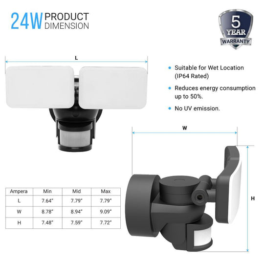 24W LED Wall Pack Security Light Double-head, Motion Sensor, 5000K, ETL, DLC, Outdoor Wall Lighting