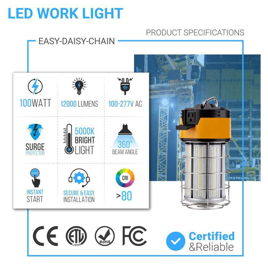 100W LED Temporary Work Light Fixture with cage, 5000K, 12000 Lumens, IP64 rated