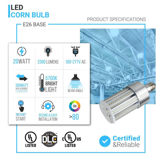 LED Corn Bulb 20W, 5700K, Base E26, IP64 Rated, 70 Watt Replacement, LED Corn Cob Retrofit Bulbs