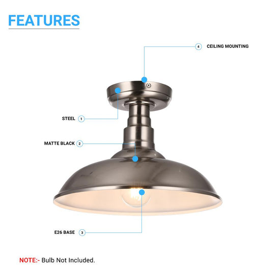 Industrial Style Brushed Nickel Semi Flush Mount Ceiling Light, E26 Base, UL Listed, 3 Years Warranty