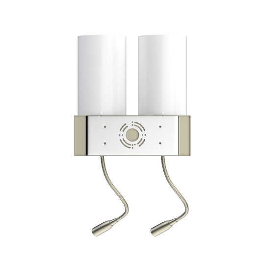 Double Head Acrylic Wall Sconce, Brushed Nickel Finish, With LED 2*1W+1 usb+2 switchs+2 outlet