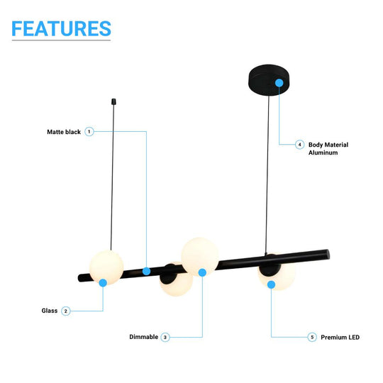 Matte Black, 4-Lights, LED Linear Chandeliers,  40W, 3000K, Pendant Mounting, Dimmable