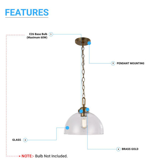 Dome Shape Brass Gold Pendant Light with Clear Glass Shade, E26 Base, UL Listed for Damp Location, 3 Years Warranty