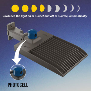 LED Parking Lot Lights With Photocell, 300W, 4000K, Universal Mount, Bronze, AC100-277V, LED Shoebox Area Light