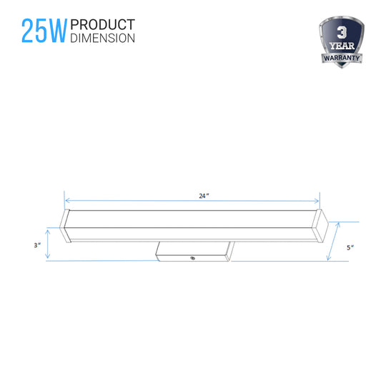 LED Bathroom Vanity Lighting Fixture, 24 inch/36 inch/48 inch, ETL Listed, Dimmable, Waterproof, Rectangle Shape, LED Wall Mounting Vanity Light