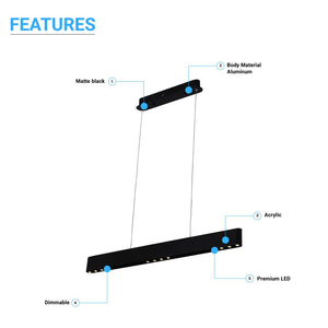 Integrated LED Linear Chandelier Light Fixture In Matte Black Body Finish, 9W, 3000K(warm white), 450LM, Dimmable