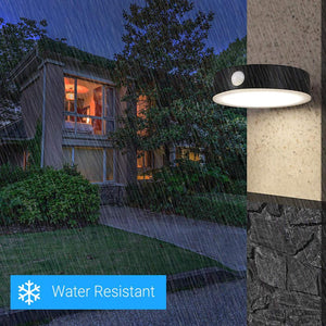 Smart LED Solar Wall Lamp with PIR Sensor, Round, HY06WSRB, Waterproof Outdoor Wall Light