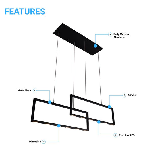 2-Rectangle Lights, LED Kitchen Island Light Pendant, 38W, 3000K, 1900LM, Dimmable, For Dining Living Room, Matte black Body Finish