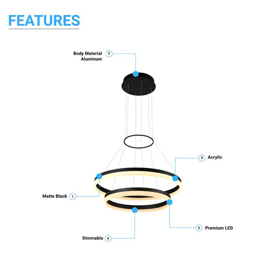 2-Ring, Modern LED Chandelier, 78W, 120V, 3000K, 3985LM, Dimmable