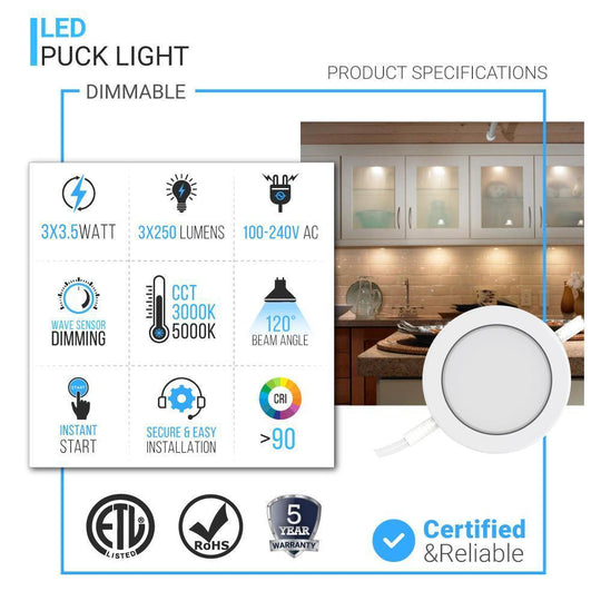 LED Swivel Puck Light, CRI90, 3-Piece Kit With 12V Adaptor & Touch Dimmer, 3x3.5 Watts, 750 Lumens, White Trim