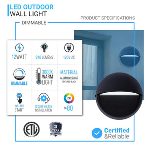 12W, Decorative Outdoor Bulkhead Light, Dimmable, ETL Listed, Frosted Glass Shade, Wet Location, 3000K/4000K, Black