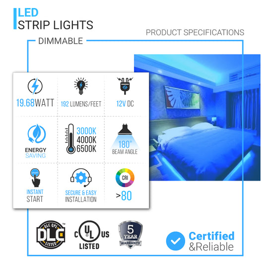 12V LED Strip Lights, 192 Lumens/ft, IP20, LED Tape Light with DC Connector