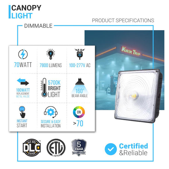 LED Dimmable Canopy Light ; 70W 5700K