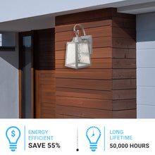Load image into Gallery viewer, 12W LED Outdoor Wall Lantern Fixture with Water Glass Shade, 4000K (Cool White), Dimmable, ETL Listed