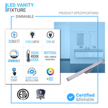 Load image into Gallery viewer, LED Bathroom Vanity Lighting Fixture, 24 inch/36 inch/48 inch, ETL Listed, Dimmable, Waterproof, Rectangle Shape, LED Wall Mounting Vanity Light
