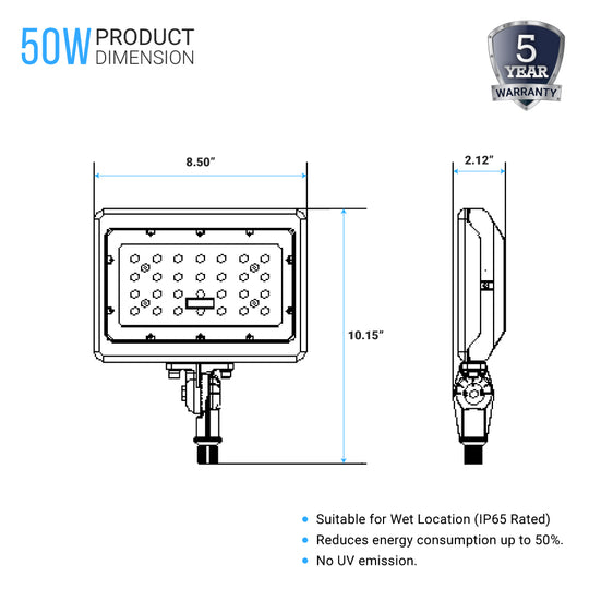 LED Flood Light - 50W Knuckle Mount - 5700K - Bronze