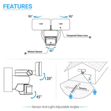 Load image into Gallery viewer, 24W LED Wall Pack Security Light Double-head, Motion Sensor, 5000K, cULus, DLC Premium approved, Outdoor Wall Lighting