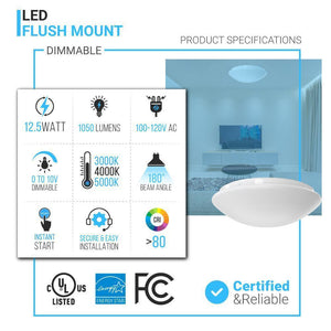 "11"" Round Mushroom Dimmable Flush Mount ; 1050 Lumens ; Power: 12.5W ; AC120V"