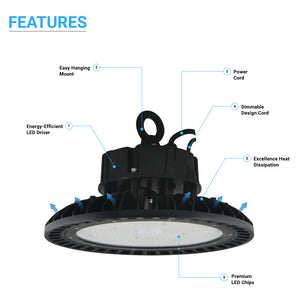 100W UFO LED High Bay Light, 5700K Daylight White, 11,852lm, IP65, UL, DLC Listed, Commercial Bay Lighting for Garage Factory Workshop Warehouse