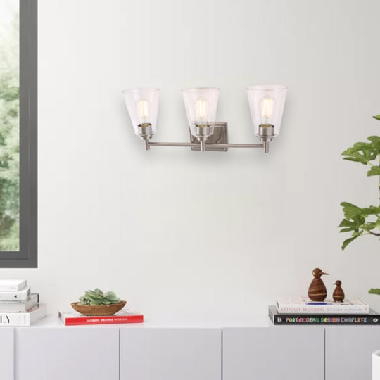 Flared Shape Vanity Lights with Clear Glass Shade, E26 Base, UL Listed for Damp Location, Bathroom Vanity Lighting