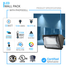 Load image into Gallery viewer, LED Wall Pack 120w 5700K Forward Throw - 15,194 Lumens with Dusk-to-dawn Photocell